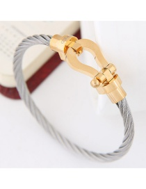 Personlity Gold Color+gray Hand-woven Decorated Bracelet