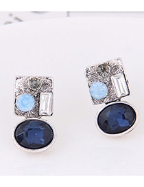 Elegant Blue Geometric Shape Diamond Decorated Earrings