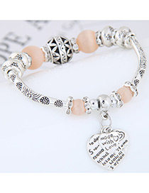 Fashion Light Pink Heart Shape Decorated Bracelet