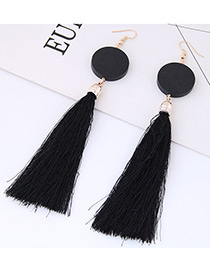 Elegant Black Tassel Decorated Earrings