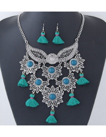 Fashion Green Tassel Decorated Flower Shape Jewelry Set