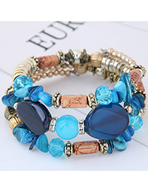 Fashion Blue+navy Color Matching Decorated Multi-layer Bracelet