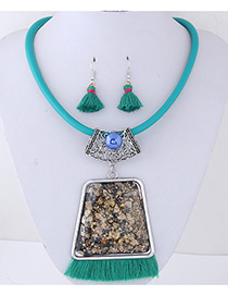 Trendy Green Tassel&gemstone Decorated Jewelry Sets