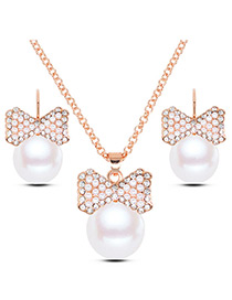 Elegant Gold Color Bowknot Shape Decorated jewelry sets