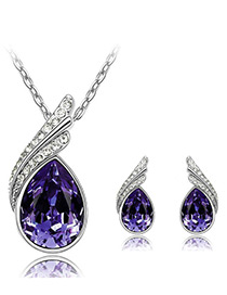 Elegant Purple Oval Shape Diamond Decorated Jewelry Sets