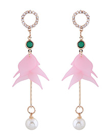 Elegant Pink Flower Shape Decorated Earrings
