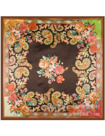 Fashion Brown Cashew Nuts&flower Pattern Decorated Square Shape Scarf