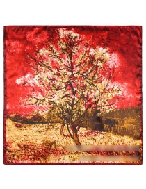 Fashion Red Tree Pattern Decorated Simple Scarf