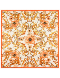 Fashion Orange Flower Pattern Decorated Simple Scarf