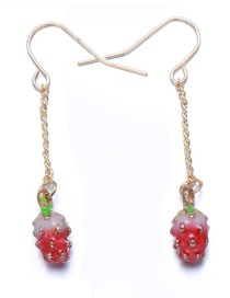 Lovely Red Strawberry Shape Decorated Earrings