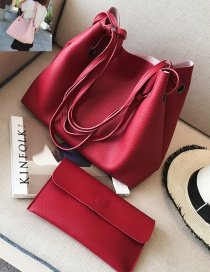 Fashion Red Rectangle Shape Decorated Pure Color Shoulder Bag (2 Pcs)
