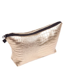 Fashion Gold Color Pure Color Decorated Waterproof Cosmetic Bag