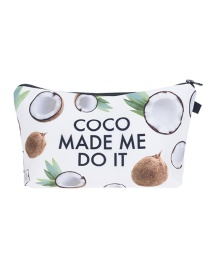 Fashion White Coconut Pattern Decorated Cosmetic Bag