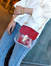 Personality Red Transparency Design Long Chain Bag