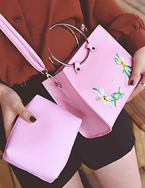 Elegant Pink Embroidered Fabric Decorated Bag (2pcs)