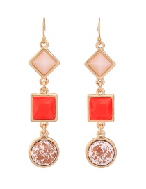 Fashion Red Square Shape Decorated Pure Color Earrings