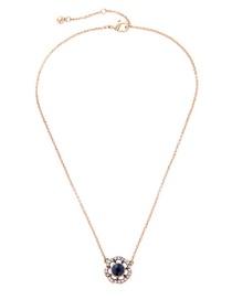 Fashion Gold Color Diamond Decorated Flower Shape Pure Color Necklace