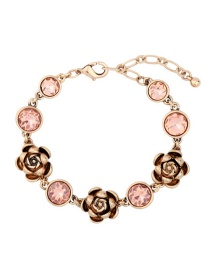 Fashion Gold Color Diamond Decorated Flower Shape Pure Color Bracelet