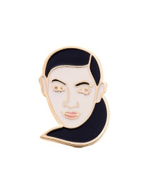 Fashion White+black Head Portrait Shape Decorated Color Mathing Brooch
