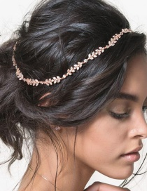 Fashion Gold Color Diamond Decorated Leaf Shape Pure Color Headband