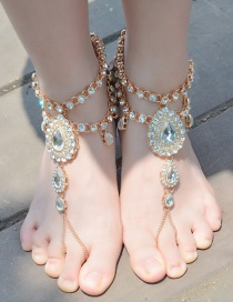 Fashion Golf Color Diamond Decorated Water Drop Shape Pure Color Anklet