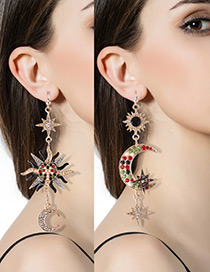 Fashion Multi-color Moon&star Shape Decorated Color Matching Earrings