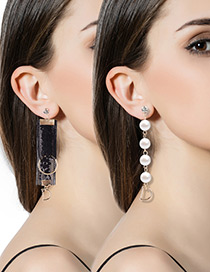Fashion Black Pearl Decorated Asymmetry Pure Color Earrings