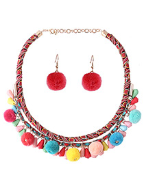 Fashion Multi-color Fuzzy Ball Decorated Weave Color Matching Pom Jewelry