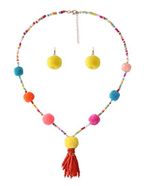 Fashion Multi-color Tassel&bead Decorated Color Matching Pom Necklace