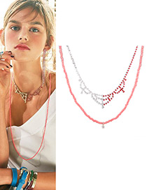 Fashion Pink Bead Decorated Multi-layer Pure Color Necklace