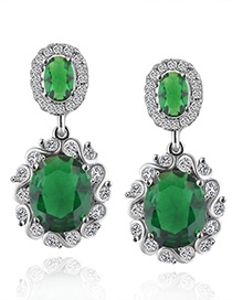 Fashion Green Diamond Decorated Pure Color Earrings