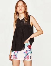 Fashion Black Pure Color Decorated Hollow Out Sleeveless Shirt