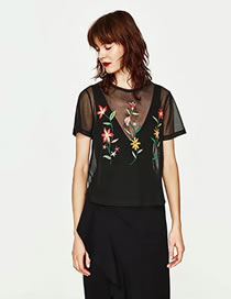 Fashion Black Embroidery Flower Decorated Hollow Out Short Sleeves Shirt