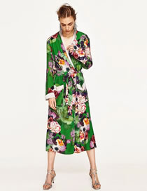Fashion Multi-color Flower Pattern Decorated Color Mathing Long Coat