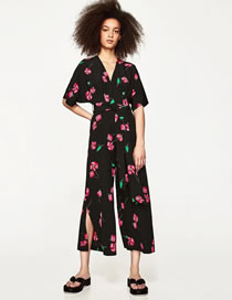 Fashion Red+black Flower Pattern Decorated Pure Color Jumpsuit