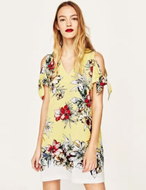 Fashion Yellow Flower Pattern Decorated Color Matching Dress