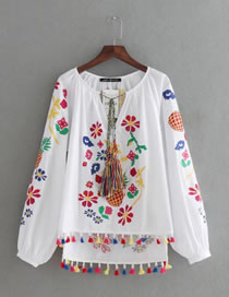 Fashion White Tassel Decorated Pineapple Pattern Color Matching Shirt