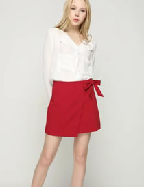 Elegant Red Bowknot Decorated High Waist Pure Color Dress