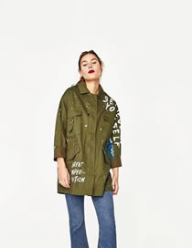 Fashion Armygreen Letter Pattern Decorated Pure Color Long Sleeve Coat