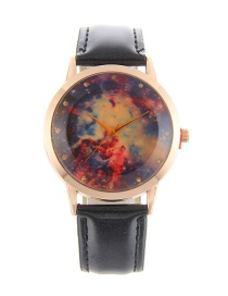 Elegant Black Stars Pattern Decorated Pure Color Watch