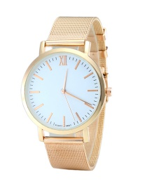 Fashion Rose Gold Color Round Dial Decorated Pure Color Watch