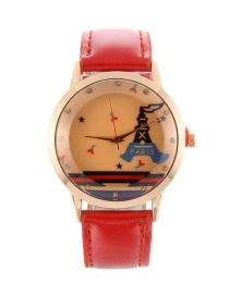 Fashion Red Tower Pattern Decorated Pure Color Watch