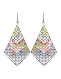 Fashion Multi-color Rhombus Shape Decorated Color Matching Earrings