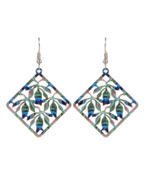 Fashion Multi-color Rhombus Shape Decorated Hollow Out Color Matching Earrings