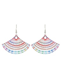Fashion Multi-color Fan Shape Decorated Hollow Out Color Matching Earrings