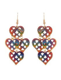 Fashion Multi-color Heart Shape Decorated Hollow Out Pure Color Earrings