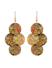 Fashion Multi-color Round Shape Shape Decorated Color Matching Earrings