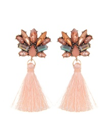 Fashion Orange Diamond&tassel Decorated Pure Color Earrings