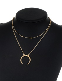 Fashion Gold Color Moon Pendant Decorated Double Layer Pure Color Necklace