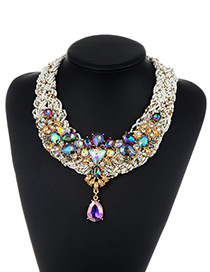 Fashion Multi-color Bead&diamond Decorated Water Drop Shape Pure Color Necklace